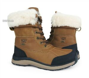 UGG Adirondack III Chestnut Leather Fur Boots Womens Size 9 *NEW*