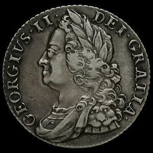 1750 George II Early Milled Silver Shilling, Narrow 0, GVF