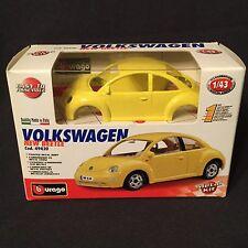 Burago Yellow Volkswagen New Beetle Metal Car Kit 1:43