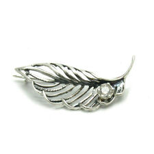 Zirconia Genuine Solid Hallmaked 925 Sterling Silver Brooch Leaf With Cubic