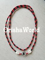 Collar Eleke de Eshu Elegua Eleggua Santeria Red Black Spiritual Beaded Necklace