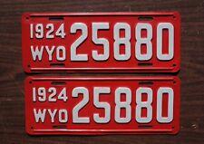 1924 Red WYOMING License Plate PAIR / SET