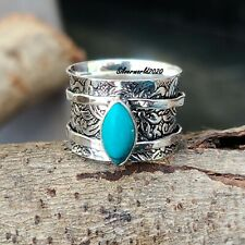 Turquoise Spinner Ring 925 Sterling Silver Plated Handmade Ring Size 7.5 oo67