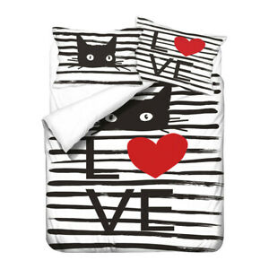 Novelty Holiday Gift Cats Paws Love Hearts Flower Bedding Duvet Quilt Cover Set
