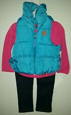 Rocawear Girls Set 3 Piece Outfit Puffer Vest , Jean Pants & Shirt Size 24 Month