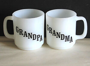 2 Milk Glass GRANDPA & GRANDMA Mugs Vintage Glasbake with Verse FREE SH