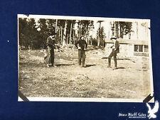 RPPC 2 Cowboys 1 Artist Log Cabin Pistol Leather Chaps Rifle GREAT