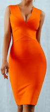 New Sexy Bright Orange Bodycon Bandage Dress XS Never Worn