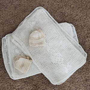 Vintage Mid Century 1950s Handmade Crochet Placemats Rectangular + Drink Koozies