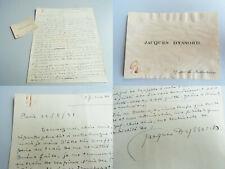 Schriftsteller Jacques DYSSORD (1880-1952): Signierter frz. Brief PARIS 1931