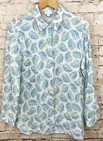 J Jill Love linen womens medium button down shirt floral leaf paisley blouse E7