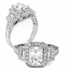 4.22Ct Emerald Cut Diamond 18K Engagement Ring Halo Engagement ring