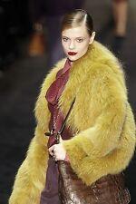 $16,000 RUNWAY GUCCI 42 Yellow Polar Fox Fur Winter Jacket Coat Women Lady Gift