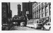 NYC 6th AVENUE ELEVATED SUBWAY TRAIN STA 42nd STREET & TROLLEYS 1930s Free Ship!