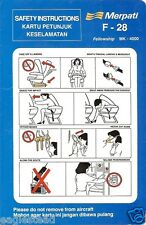 Safety Card - Merpati - F28 Fellowship MK 4000 (Indonesia) (S3103)