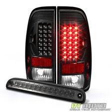1999-2007 Ford F250 F350 F450 Black Led Tail Lights +Smoke 3rd Brake Cargo Light
