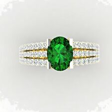 Oval 2.54Ct Natural Diamond Real Emerald Ring 14K Yellow Gold Wedding Ring Sale£