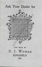 Kingfield Maine S. J. Wyman Clothes Of To-Day Store Vintage Advertising Notebook