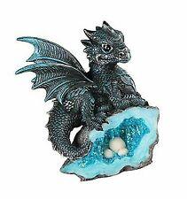Blue Medieval Magic Baby Dragon Crystal Egg Nest Decorative Figurine Statue