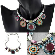 Fashion Women Boho Choker Chunky Statement Chain Bib Pendant Necklace Jewelry