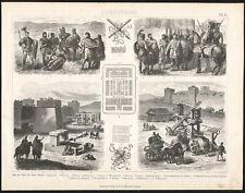 1875 Gravure Antiquité Rome légion romaine balistique catapulte romains