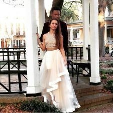 CHIC Sequins Long Prom Dress Two Pieces Evening Party Gowns Quinceanera Dresses