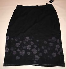 Express Sheer Skirt Womens Size 13 14 Black Purple Vine Leaves Straight Pencil