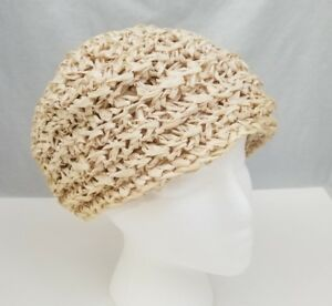 Vintage Womens Straw Hat Beret Style Cream Color Made in Italy