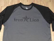 Iron Lion Disc Golf Supply Gray/Black Raglan Athletic Shirt ~ Men's Large L ~