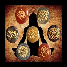 Chakra Mandala Set- 7 X Engraved Semi-Precious stones/crystals-Reiki, Healing.