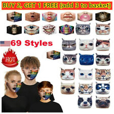 3D-Print Funny Face Mask Protective Covering Washable Reusable For Adult-Unisex