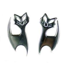 .925 Solid Sterling Silver Cat Feline Kitty Stud Earrings Pair E015 15mm
