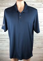 Oakley  XL Moisture Wicking Polyester Collared Blue Embroidered Polo Shirt e4