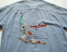 TOMMY BAHAMA MENS L large SILK BUTTON CAMP SAILS CALL EMBROIDERED SHIRT