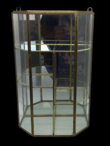 "Vintage Brass 4 Shelf Glass & Mirror Curio Cabinet Wall Display Case 12""x7""x4"""