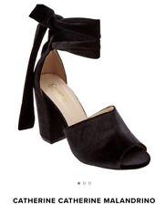 Catherine Malandrino Velboney Sandal Black Velvet Heels 9/40 $100