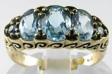 QUALITY 9CT 9K GOLD VINTAGE INSP AAA BLUE TOPAZ 5 STONE RING FREE RESIZE
