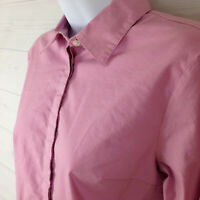 Talbots petite womens size 4P stretch solid pink button-up long sleeve shirt