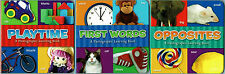 PLAYTIME, FIRST WORDS & OPPOSITES Photographic Learning Board Book Set Ages 3+