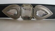 Vintage 1980's Black Leather Belt Huge Rhinestone Buckle Cuir Veritable France