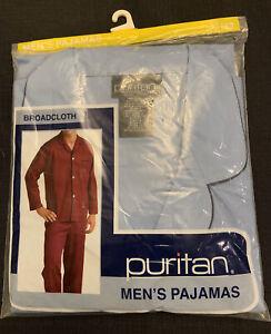 NEW Mens Puritan Broadcloth Cotton Poly Blend Pajamas Large Light Blue