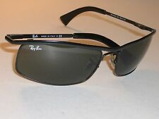 59MM RAY BAN RB3339 SHINY BLACK G15 OLYMPIAN FLEX HINGES WRAP SUNGLASSES w/CASE