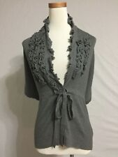 NEW Anthropologie Knitted Knotted Gray Poncho Wrap Sweater Size S 4 6