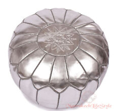 Free Express Shipping SILVER MOROCCAN POUF OTTOMAN FAUX LEATHER POUFFE FOOTSTOOL