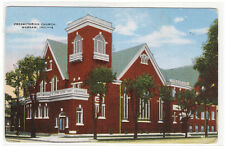 Presbyterian Church Warsaw Indiana linen postcard