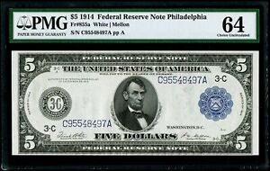 $5 1914 Federal Reserve Note Philadelphia Fr#855a PMG 64 Choice Uncirculated