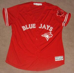 TORONTO BLUE JAYS MAJESTIC WOMENS CANADA DAY W/ MAPLE LEAF Sleeve PATCH  NEW 2XL