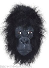 Adult Furry Gorilla Rubber Face Mask Animal Halloween Fancy Dress Costume Outfit