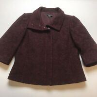 Ann Taylor Size 6 Red Wool 3/4 Sleeve Zip Front Blazer Career Jacket