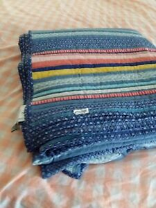 Pioneer Woman  Barn Dance Cotton Reversible striped king size quilt (No Shams)